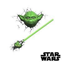 Disney Star Wars 3D Yoda Figure Night Light Lightsaber Baby Rare Black Series