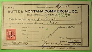 Bank Check with revenue stamp,1898  Jno worked 10 days and earned $25.