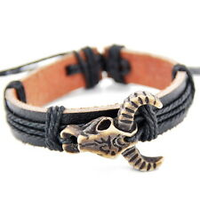 cool man boy bull skull Pendant leather bracelets bangle S-2