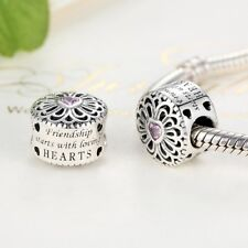Silver Love Friendship Charm With Pink CZ Stone. Authentically Stamped S925