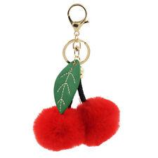 1PC Red Faux Fur Cherry Pom Pom Leaf Keychain Bag Charm Girls Women Accessories