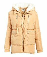 Astor Place Women's Sherpa-Lined Hooded Puffer Coat (Brown, Size 1X)