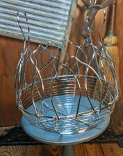 Vintage Collapsible Wire Chicken Egg Basket Farm House Collectible