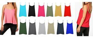 Womens spaghetti strap swing vest flared flowy plain summer casual top size 8-26
