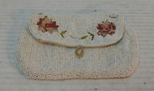 Vintage Glass Beaded Small Purse Clutch - Victorian Edwardian  Flowers Excellent