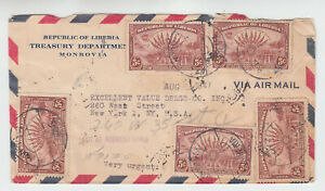 Liberia  # 278 (5) Cover to NY CP.22 No Date W/ Handstamped Date Flag