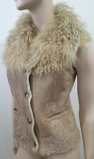 RED VALENTINO Beige Suede Leather Mongolian Fur & Lace Lined Gilet Jacket 44 UK1