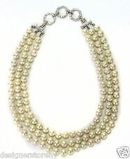 Kenneth Jay Lane 3 Row Pearl Necklace with Swarovski Crystals
