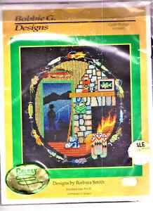 BARGAIN! Vintage Goin' Fishin' Counted Cross Stitch Kit COLOURFUL on Black Aida