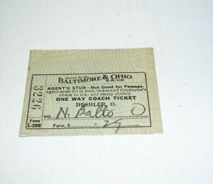 1939 Baltimore & Ohio Train Ticket Stub Coach To N. Balto No 3226