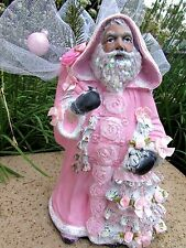 "12"" SHABBY CHIC VICTORIAN CHRISTMAS PINK SANTA FIGURINE Glitter Roses Lace"