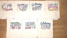 BEACH DAYS OF THE WEEK EMBROIDERED FLOUR SACK DISH TOWELS