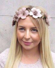 Nude Brown Gold Rose Flower Hair Crown Headband Vintage Wreath Garland Boho 2713