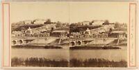 Francia Ayuntamiento De Torres Gran Puente c1860 Foto Estéreo Vintage Albúmina