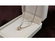 Shiny Rose Gold Plated 8mm Ball Pendant 3.2mm Bead Chain Necklace Gift 17.7""