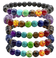 Hot Sale!7 Chakra Healing Beaded Bracelet Natural Lava Stone Diffuser Jewelry*EN