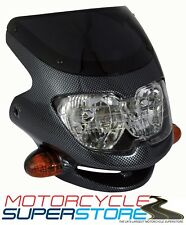 UNIVERSAL MOTORCYCLE MOTORBIKE (STREETFIGHTER STYLE) FAIRING HEADLIGHT CARBON
