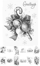 """Adult Grayscale Coloring Book (24 cards 4.5""""x6.5"""") Christmas Gift Santa FLONZ504"""