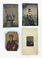 Lot 4 Tintype Photo Photograph Woman Girl Child Hat Matted Tin Type Antique Gift