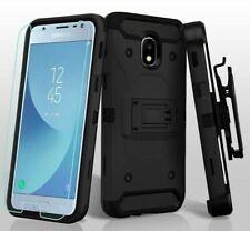 For Samsung Galaxy J3 2018 Model -Hard Hybrid Armor Holster Belt Clip Case Glass