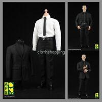 AFS A004 1/6 Men's Black Suit Shirt Agent Clothes Set For 12'' Figure Body
