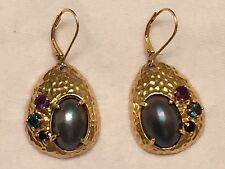 Tahitian Mabe Pearl Earrings with Gemstones 18K Gold Clad Sterling Silver 925