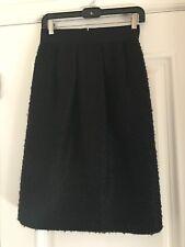 VALENTINO HIVER 2008 Black Boucle Gathered Pencil Skirt Small