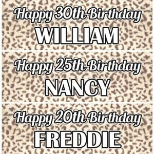 2 Personalised Leopard Print Birthday Celebration Banners Decoration Posters