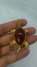 Stunning vintage De Nicola brown  lucite  turtle gold tone  pin brooch