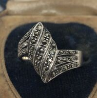 Vintage Sterling Silver Ring 925 Size 8 Marcasite Deco Signed