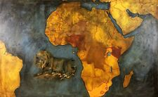 GREAT MAP OF AFRICA. OIL PAINTING ON CANVAS. ANONYMOUS. SPAIN. XXTH CENTURY