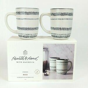 Set of 2 - Hearth & Hand Magnolia - Black and White Embossed Stoneware 14oz Mugs