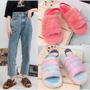 Women Fluffy Slippers Furry Celebrity Sliders Ladies Mules Flip Flops Shoes Size