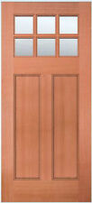 Exterior Entry Mahogany Craftsman Flat Panel Solid Stain Grade 6 Lite Wood Doors