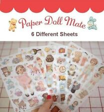 *Party Favors* 6 Sheets Korean Afrocat Paper Doll Mate Girl PVC Stickers set #2