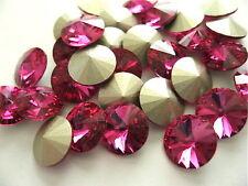 12 Fuchsia Foiled Swarovski Crystal Rivoli Stone 1122 39ss 8mm