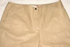 Escada Buttery Soft Beige Lined Lamb Nappa Leather Pants Tapered Leg EU 40 31X32