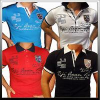 Herren Poloshirt T-Shirt Kurzarm Hoodie Club Weiss Rosa Blau S M L XL XXL NEU