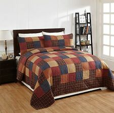 3Pc Old Glory King Patchwork Quilt Set Bedding Package. Country Quilt