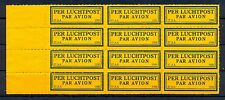 NEDERLAND 1926  KLM   AIRMAIL LABEL  (37 AA- 1926 )  PANE OF 12 ** MNH  @13