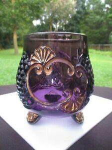 1888 EAPG RIVERSIDE EAPG CROESUS AMETHYST GLASS SPOONER MAKEUP BRUSH HOLDER