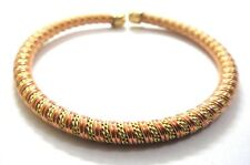 DOUBLE Copper & Brass Twisted Braid Cuff Bracelet Wristlet Wristband 5 mm Thick