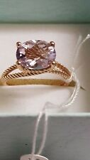 14 KT Rose Gold ring with Pink Quartz stone