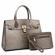 Women Large Ostrich Faux Leather Handbag Set Shoulder Purse w/ Matching Wallet