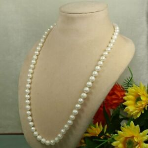 woman jewerly single Natural white 8-9mm genuine freshwater Pearl Necklace  24""