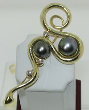 DE VROOMEN 18 KT. GOLD DIAMOND AND TAHITIAN PEARL PIN!! AMAZING!!
