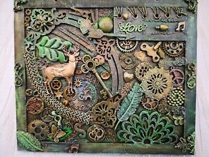 """Green mixed media collage art on wood panel wall decor 9""""x8"""""""