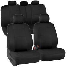 Full Black Car Seat Covers Set 5 Headrests Full Solid Bench for Auto SUV - 9pc