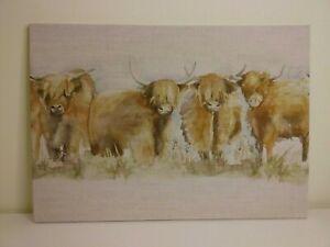 VOYAGE  HIGHLAND CATTLE  FABRIC WALL ART