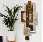 Large Modern Metal Wall Clock Art Brown Silver Copper Decor  Artist Jon Allen